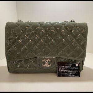 Authentic Chanel Jumbo Single Flap Patent Leather